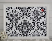 Damask Bulletin Board - Framed Magnetic Memo Board in Black and White with our Handmade Wood Frame and Designer Fabric