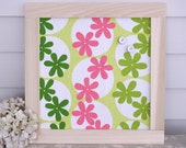 Retro Magnet Board - Girls Bulletin Board in Pink and Lime Green Designer Fabric - Handmade Wood Frame - Decorative Memo Message Board