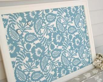 Magnet Board - Bulletin Board Framed Magnetic Board in Tuquiose Aqua Blue - Memo Board 20.5 x 26.5 with Waverly Decorative Designer Fabric