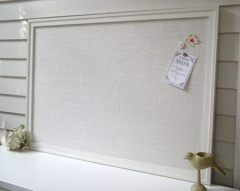 BULLETIN BOARD - MAGNETIC Framed Magnet Memo Board in Ivory Burlap - Deluxe Size 26.5 x 38.5 with Handmade Frame - Message Board