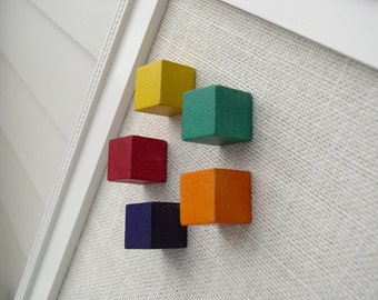 Vintage Wood Block Magnet Set of Six 6 - Kids Rainbow Color Cube Magnets for Refrigerator or Magnetic Bulletin Board - extra strong