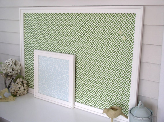 Deluxe Magnet Board - Framed Magnetic Memo Bulletin Board in Spring Green Weave - Handmade Wood Frame Message Board with Designer Fabric