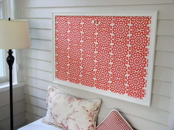 Large Magnetic BULLETIN BOARD - Framed Deluxe Memo Board - 26.5 x 38.5 Coral Red Amy Butler Fabric with Handmade Frame - Message Board