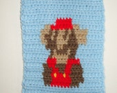Oops...Mario Dies Crocheted Wall Hang