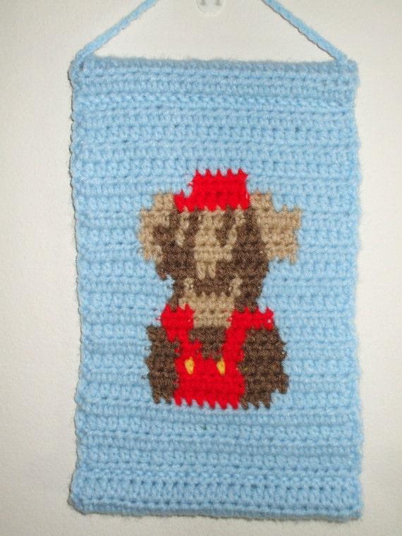 Oops...Mario Dies Crocheted Wall Hang