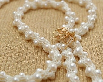 Freshwater Pearls Yarn Necklace - OOAK Heirloom Open End Design Knitted from Cream White Nylon Yarn with White Freshwater Pearls - Bridal