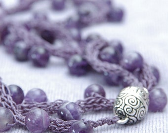 Amethyst Yarn Necklace - Hand-knitted from Lavender Colored Nylon Yarn with Large Natural Amethyst Beads