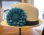 Natural Fedora with Felt Dahlia Flower (Buyers Choice)