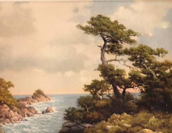 """1940s Lithograph """"Coast of Monterey"""" by Robert Wood"""
