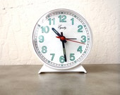 Vintage Small Clock / Teal and White Retro Decor