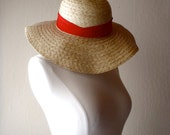 Vintage Straw Hat with Red Sash
