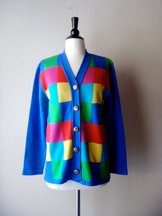 Vintage cardigan / bright colored sweater