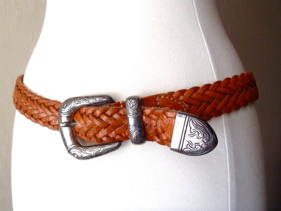 Vintage Braided Leather Belt /  Waist Belt