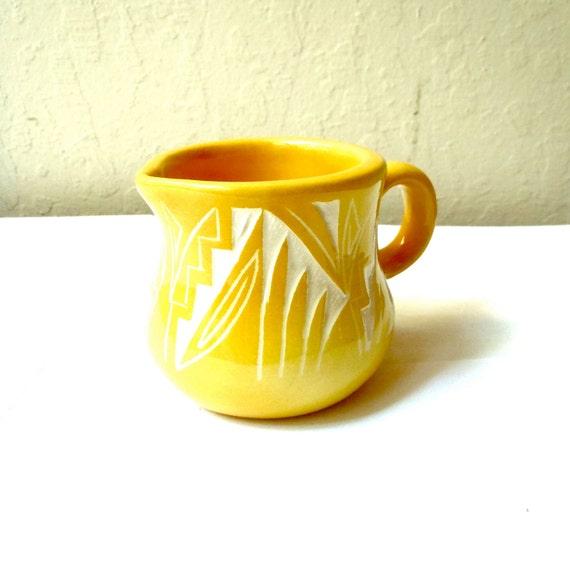 Vintage Goldenrod Aztec Creamer / Small Yellow Ceramic Pitcher