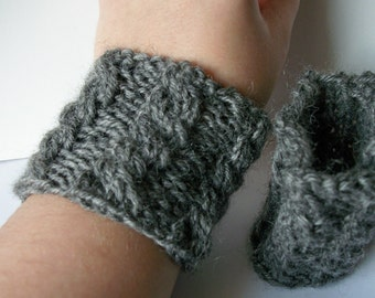 PDF Knitting Pattern: Knit Cabled Wrist Warmer/ Wristband/ Cup Cozy/ Bracelet