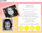 Pink Lemonade Birthday Party invitations with photograph- print your own
