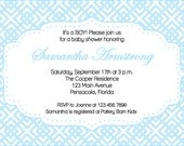 Blue and White Baby Boy Shower Invite- print your own