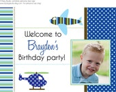 Airplane and Helicopter Party- Welcome door sign- print your own