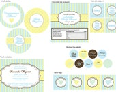 Baby Shower in Yellow and Blue- Full Collection- print your own
