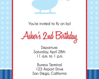 Helicopter Birthday Party Invitation- digital file- print your own