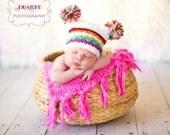 Newborn Rainbow Pom Pom Sack Hat