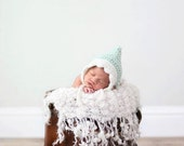 Newborn Mint and Antique White Gnome Pixie Hat
