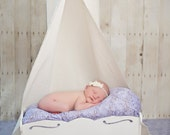 Newborn Canopy Photo Prop with Matching Tattered Headband- Linen and Lace
