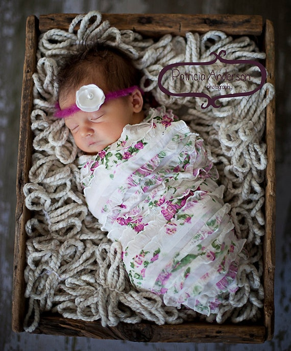 Newborn Stretch Ruffle Wrap with Flower Halo Headband