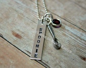 Hand stamped Sterling Silver Spoonie necklace