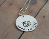 Sterling Silver Handstamped Photographer's Camera Necklace - Capture Life