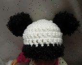 Newborn Panda Bear Hat INVENTORY REDUCTION SALE Ready to Ship