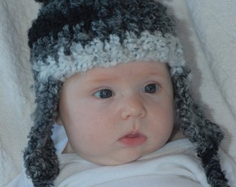 0 to 3 months Fuzzy Hat with Earflaps INVENTORY REDUCTION SALE Ready to Ship