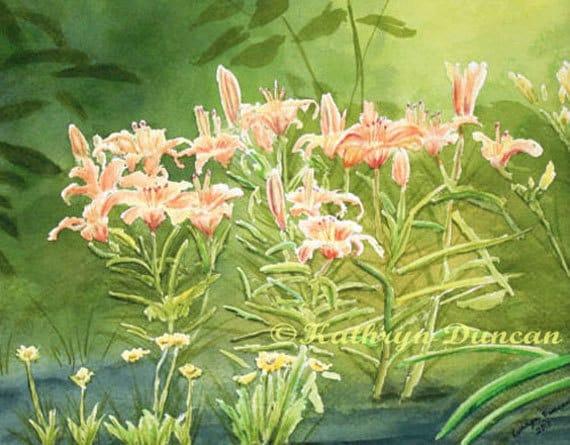 Orange Lillies Green Garden Original Watercolor Painting