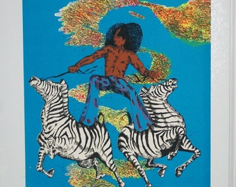 "SALE and FREE Shipping Blacklight ""Zebra"" Original Vintage Poster"