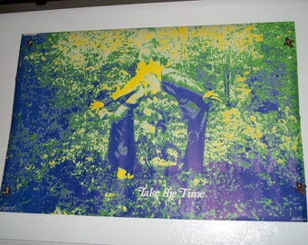 "SALE Vintage""Take the Time""  1971  Blacklight LOVE  Poster"