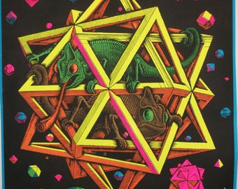 """Rare Blacklight """"Stars"""" 1968 Original Vintage Poster"""