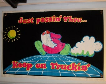 "SALE  1971 Blacklight ""Mr. Natural"" Robert Crumbs  Keep on Truckin' Flocked Original Vintage Poster"