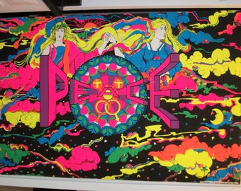 "SALE Free  Shipping Huge  ""Super Celestial ""   Original Vintage Blacklight  1970 Poster"