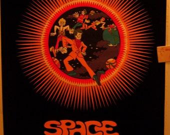 "SALE Rare  Blacklight ""Space Truckin'"" Flocked Original Vintage Poster"