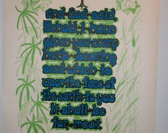 Blacklight Marijuana Poster from the 1970s SALE  Genesis 1:29  Original