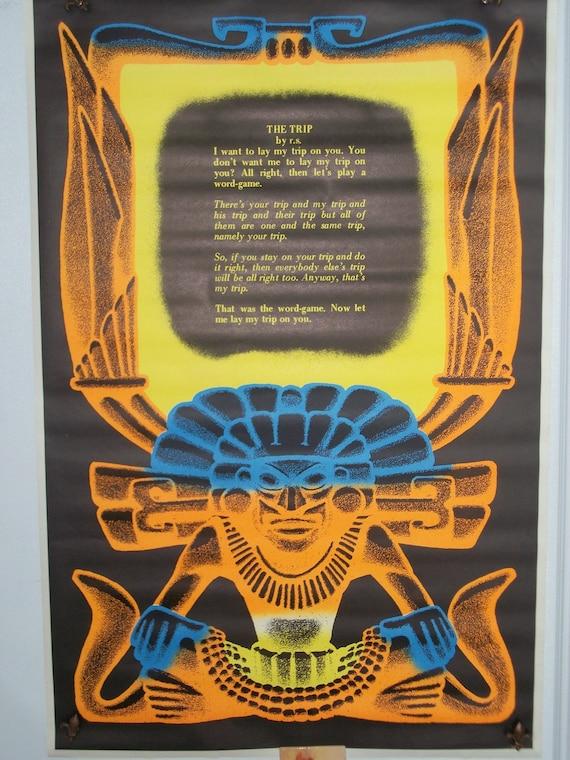 """Blacklight   """" The Trip"""" Original Vintage Drug Poster"""