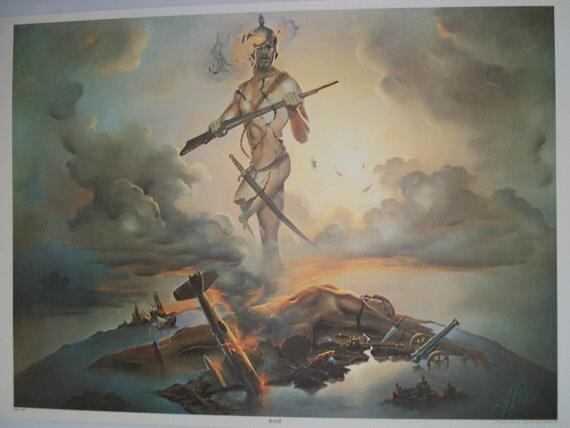 """SALE J. Pitre Vintage  """"War"""" Poster  Original Vintage Fantasy Poster"""