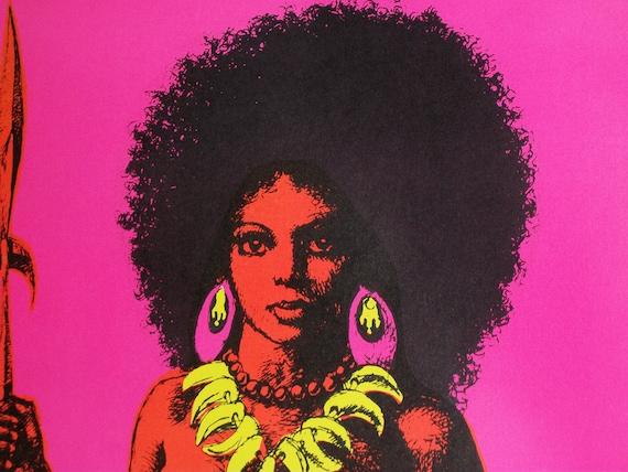 "Original Vintage 1970 ""War Queen"" Mature Blacklight Poster"