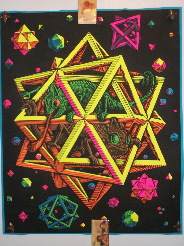 Rare Blacklight Stars 1968 Original Vintage Poster