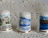 5 Thimbles Bone China Thimbles Souvenir Thimbles Lot B