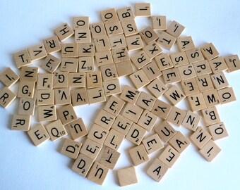 Vintage 100 Wooden Scrabble Tiles 1950's