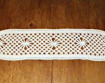 Crocheted Doily Large White Runner Vintage Crochet Doily  A326