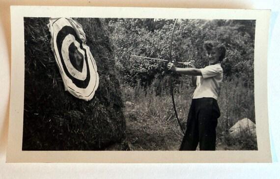 Antique Photograph Vintage Photographs  Black and White Photograph Woman Archery 1940's