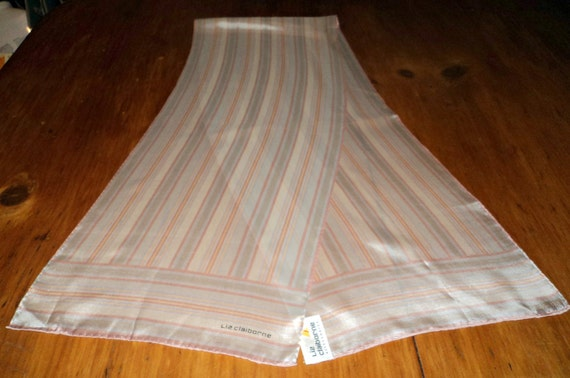Vintage Scarf Liz Claiborne Silk Scarf Long Ladies Scarves Designer Cream Stripes   B32