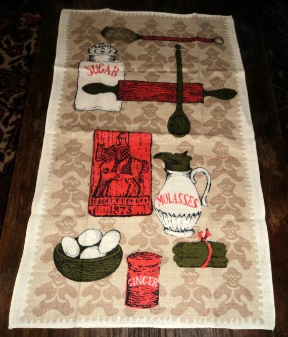 Gingerbread Man Tea Towel Mid Century Tea Towels Vintage Tea Towel  Linen